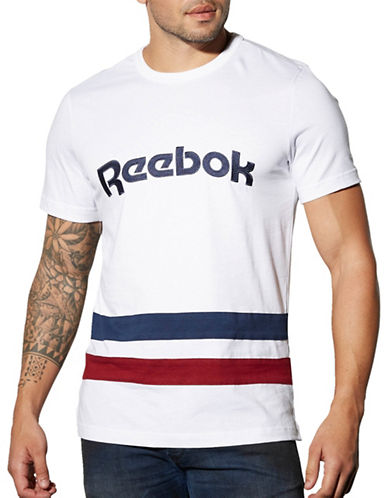 Reebok Striped T-Shirt-WHITE-X-Large 89199740_WHITE_X-Large