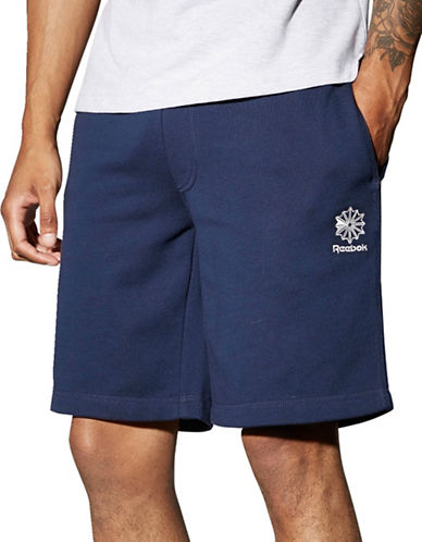 Reebok Solid French Terry Shorts-BLUE-Large 89199744_BLUE_Large