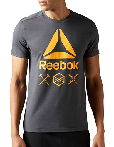 Reebok Speedwick Delta Short Sleeve Top-GREY-X-Large 88907591_GREY_X-Large