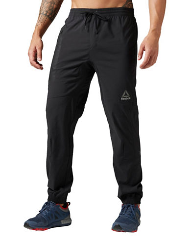 Reebok Elite Woven  Jogger Pants-BLACK-Large 89027136_BLACK_Large