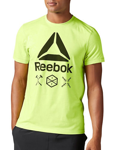 Reebok Speedwick Delta Short Sleeve Top-GREEN-Large 88907615_GREEN_Large