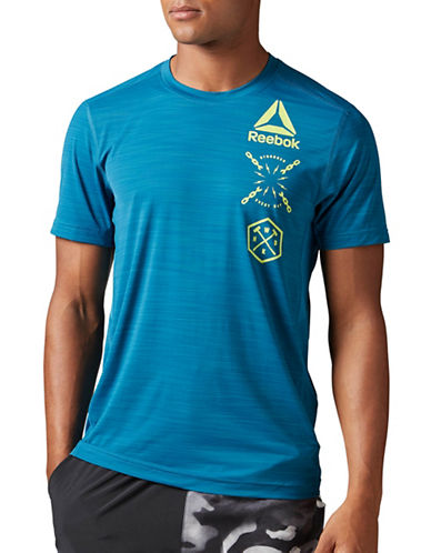 Reebok Activchill Striped Graphic Tee-GREEN-Large 88988327_GREEN_Large