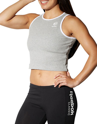 Reebok Slim-Fit Rib Cropped Tank Top-GREY-X-Large