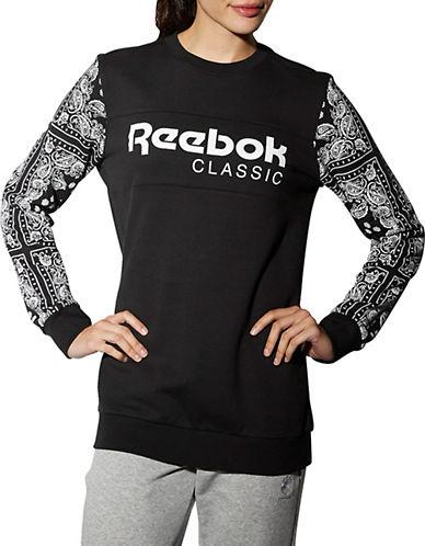 Reebok Havana Bandana Paisley-Print Sweatshirt-BLACK-Large 89177297_BLACK_Large