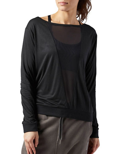 Reebok Mesh Long Sleeve Tee-BLACK-Large