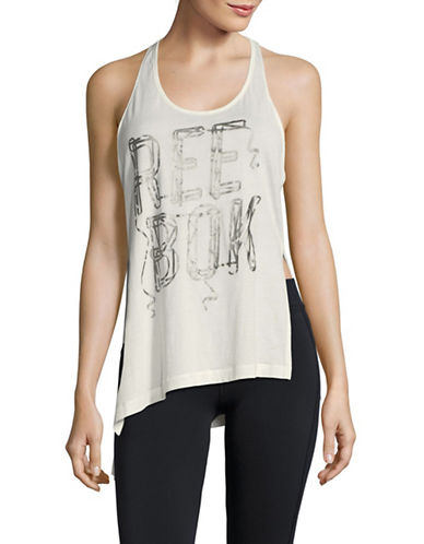 Reebok Asymmetric Graphic Tank Top-GREY-X-Large