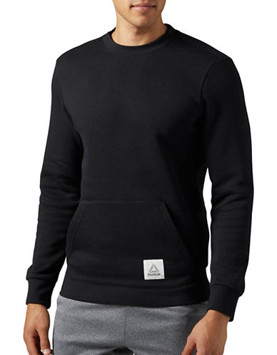 Reebok Cotton Series Crewneck Sweatshirt-BLACK-XX-Large