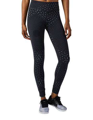 Reebok Spot Print Lux Tights-BLACK-Large