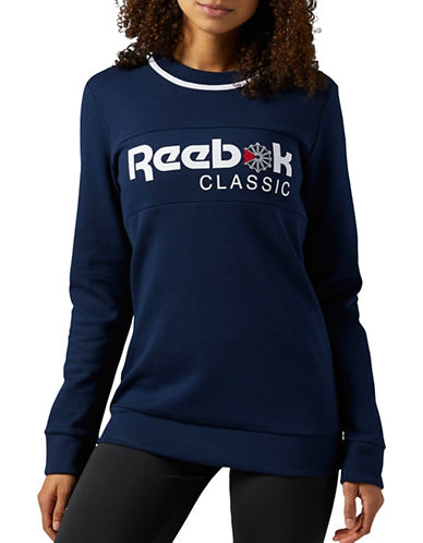 Reebok F Iconic Fleece Sweatshirt-NAVY-Large