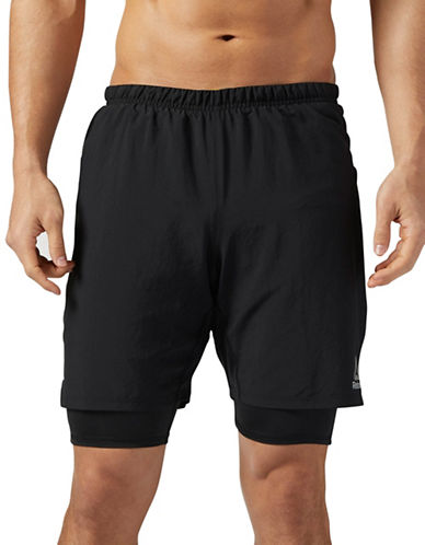 Reebok Running  Two-in-One Shorts-BLACK-Medium