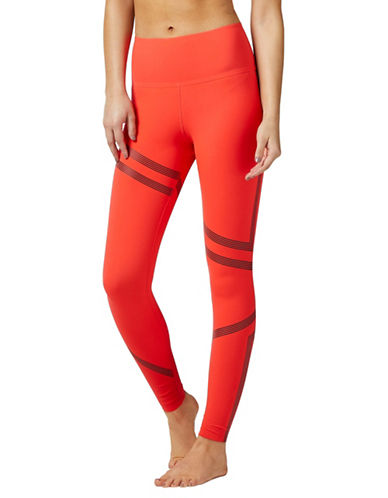 Reebok Striped High-Rise Leggings-RED-Medium 89654481_RED_Medium