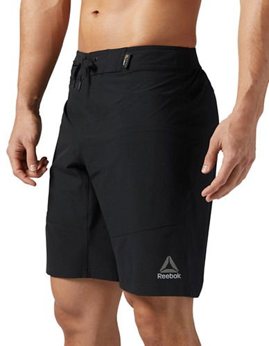 Reebok Pull-On Logo Shorts-BLACK-Small