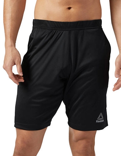 Reebok Polyknit Shorts-BLACK-Large