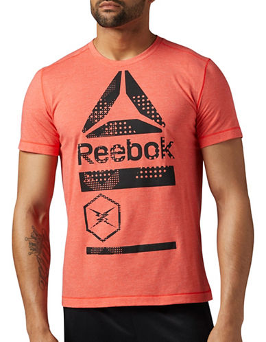 Reebok Speedwick Blend Graphic T-Shirt-RED-X-Large