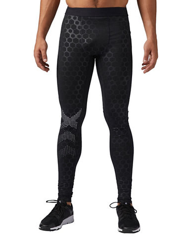 Reebok Hexawarm Reflective Thermal Tights-BLACK-Large