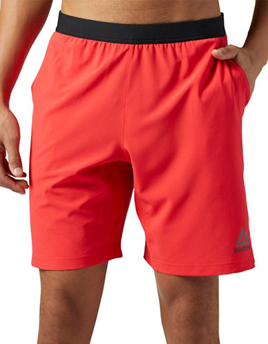 Reebok Contrast Banded Shorts-RED-X-Large