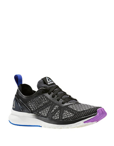 Reebok Print Smooth UltraKnit Low Top Sneakers-BLACK-6.5