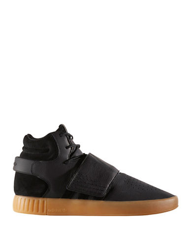 Adidas Originals Tubular Invader Mid-Cut Strap Sneakers-BLACK-10.5
