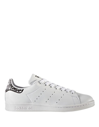 Adidas Womens Stan Smith Graphic Leather Low Top Sneakers-WHITE-8