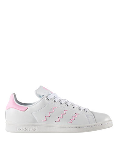Adidas Womens Stan Smith Zigzag Leather Low Top Sneakers-WHITE-8.5
