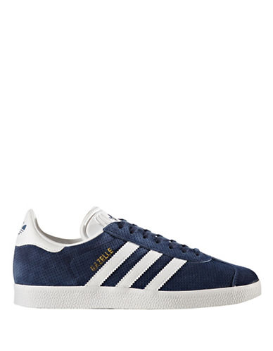 Adidas Womens Gazelle Leather Low Top Sneakers-NAVY-7