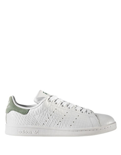 Adidas Womens Stan Smith Leather Sneakers-WHITE/GREEN-10
