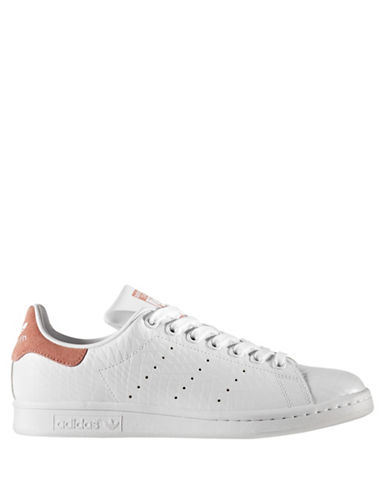 Adidas Womens Stan Smith Leather Sneakers-WHITE/PINK-7.5