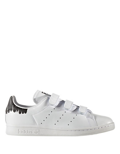 Adidas Womens Stan Smith Leather Low Top Sneakers-WHITE-8.5