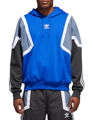 Adidas Originals Geometric Print Hoodie-BLUE-X-Small