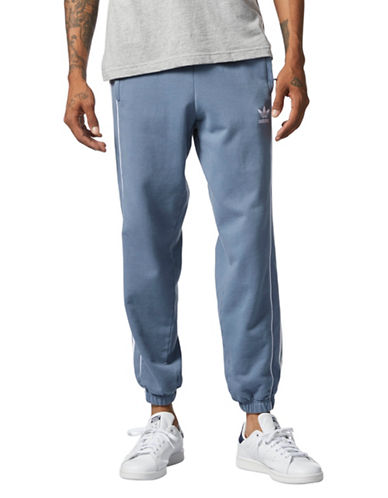 Adidas Originals Pipe Cotton Sweatpants-BLUE-Medium