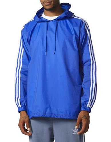 Adidas Originals Windbreaker Hooded Pullover-BLUE/WHITE-X-Large