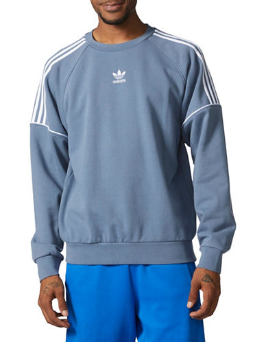 Adidas Originals Pipe Cotton Sweatshirt-BLUE/WHITE-X-Small