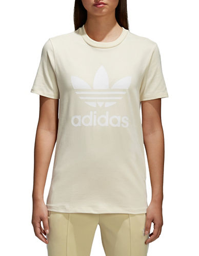 Adidas Originals Trefoil Stretch Tee-BEIGE-X-Large