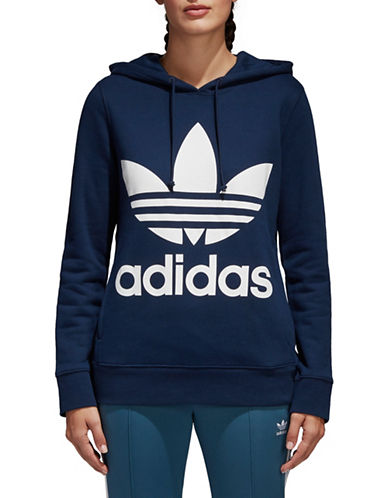 Adidas Originals Trefoil Cotton Hoodie-NAVY-X-Small