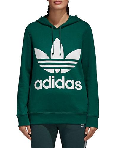 Adidas Originals Trefoil Cotton Hoodie-GREEN-X-Small