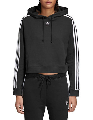 Adidas Originals Cropped Cotton Hoodie-BLACK-X-Small