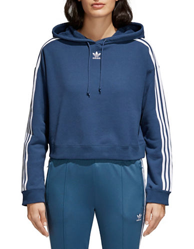 Adidas Originals Cropped Cotton Hoodie-BLUE-Medium 89855344_BLUE_Medium