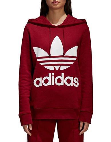 Adidas Originals Trefoil Cotton Hoodie-RED-Large