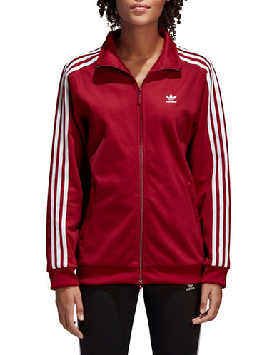 Adidas Originals Striped Sleeve Full-Zip Jacket-BURGUNDY-Large
