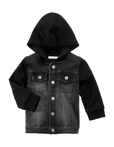 First Impressions Hooded Layer Denim Jacket-BLACK-12 Months