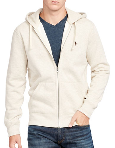 Polo Ralph Lauren Cotton-Blend-Fleece Hoodie-ALMOND HEATHER-Large