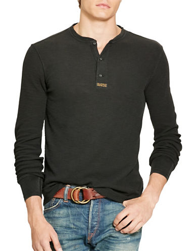 Polo Ralph Lauren Cotton Jacquard Henley-POLO BLACK-Large 88525439_POLO BLACK_Large