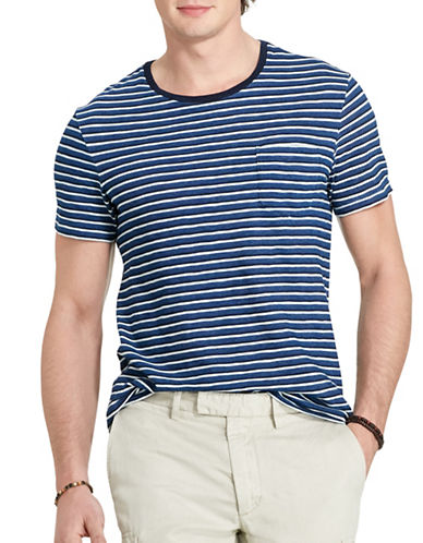 Polo Ralph Lauren Striped Indigo Cotton T-Shirt-DARK INDIGO-X-Large