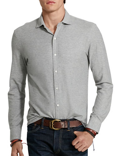 Polo Ralph Lauren Cotton Jacquard Shirt-ANDOVER HEATHER-X-Large 88524530_ANDOVER HEATHER_X-Large