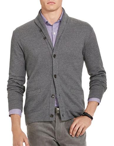Polo Ralph Lauren Jacquard Fleece Shawl Cardigan-GREY-Medium 88524583_GREY_Medium