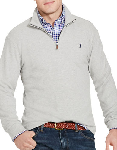 Polo Ralph Lauren Cotton-Blend Half-Zip Pullover Sweater-ANDOVER HEATHER-5X Tall 88484176_ANDOVER HEATHER_5X Tall