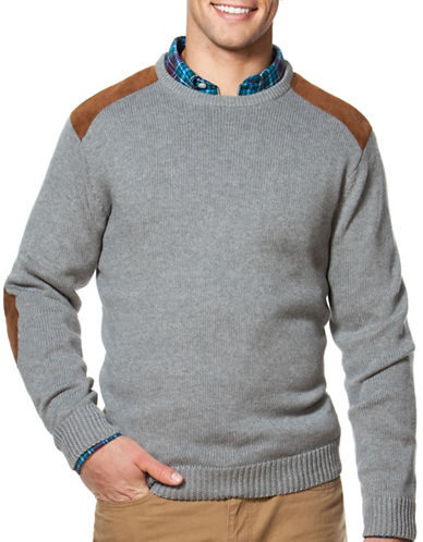 Chaps Combed Cotton Crewneck Patch Sweater-GREY-Medium 88690212_GREY_Medium