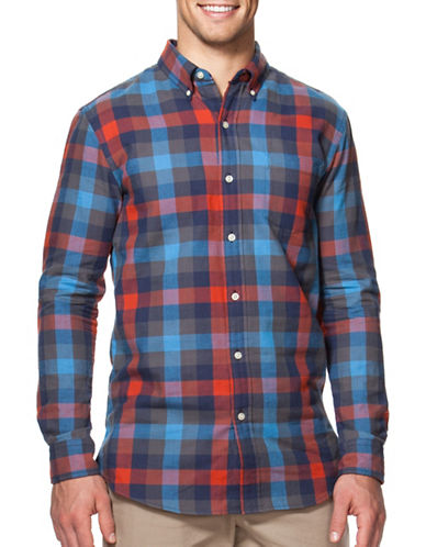 Chaps Checked Double-Faced Sport Shirt-ORANGE/BLUE-X-Large