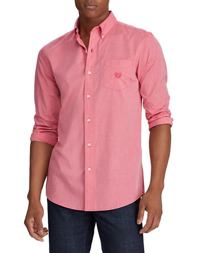 Chaps End-On-End Poplin Sport Shirt-PINK-Small