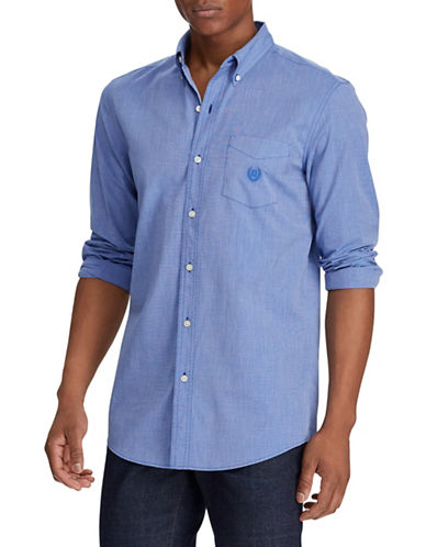 Chaps End-On-End Poplin Sport Shirt-BLUE-X-Large